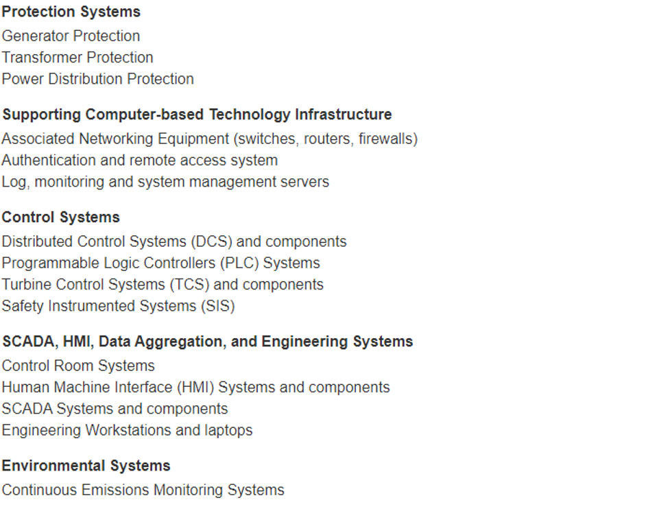 Public Safety Control's example list of Industrial Control System and other related components